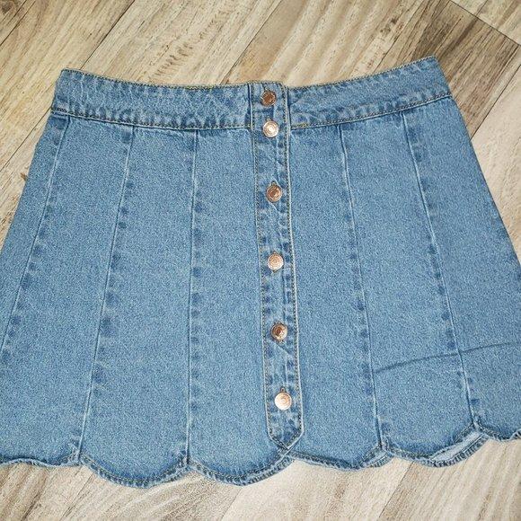 Forever 21 Pleated Denim/Jean Mini Skirt